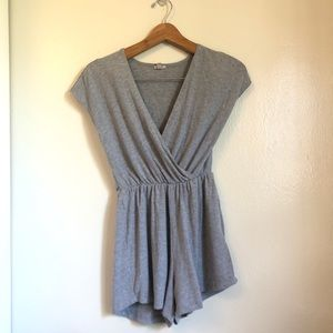 Urban Outfitters Ecote Ribbed Surplice Romper Grey
